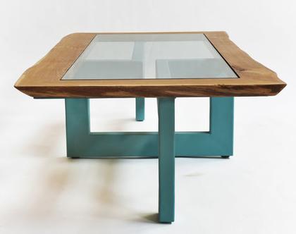 שולחן סלון מעוצב בשילוב עץ וברזל