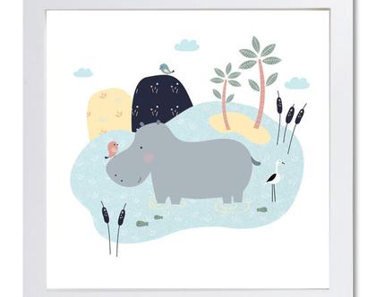 סט שתי תמונות I love hippos | עיצוב חדרי ילדים | עיצוב קירות | עיצוב חדר תינוקות