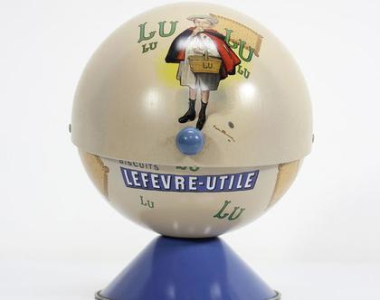 קופסת פח וינטאג׳ צרפתית נדירה לביסקוויטים, קופסת פח כדורית