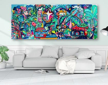 תמונה ענקית לסלון creation 3.00/1.15/ עיצוב פנים, ענבר רייך ציירת, ,ציור צבעוני לבית ,ציור מקורי זמין, המחיר להדפס משודרג , אומנות ישראלית