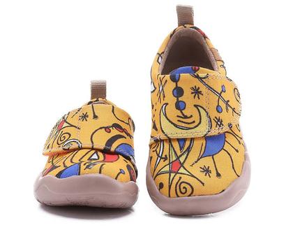 נעלי בד לילדים טבעוניות אופנתיות מודפסות צהובות ומיוחדות נוח לגן ולשנת הלימודים