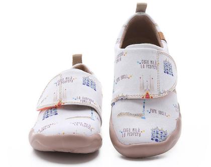 נעלי בד לילדים טבעוניות אופנתיות לבנות ברצלונה מודפסות ומיוחדות נוח לגן ולשנת הלימודים