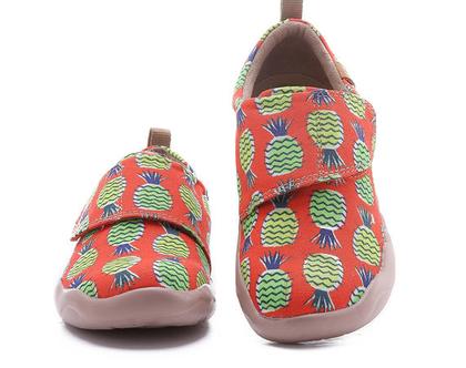 נעלי בד לילדים טבעוניות אופנתיות אננס מודפסות ומיוחדות נוח לגן ולשנת הלימודים