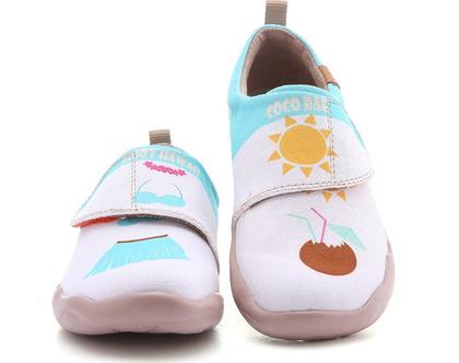 נעלי בד לילדים טבעוניות אופנתיות לבן ותכלת מודפסות ומיוחדות נוח לגן ולשנת הלימודים