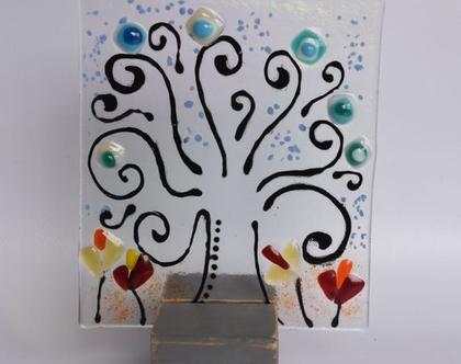 תמונה אמנות בזכוכית מתנה למשרד עץ החיים