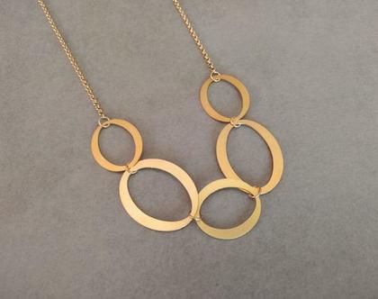 שרשרת ארוכה מזהב | שרשרת זהב | שרשרת עם תליון עיגולים | שרשרת גודלפילד עם תליון | שרשרת זהב ארוכה לאישה | שרשרת חישוקים משולבים