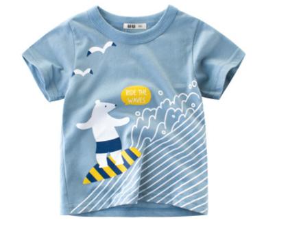 חולצת טריקו עם הדפסת שרוול קצר לילדים ותינוקות חולצות כותנה, צוואר טי