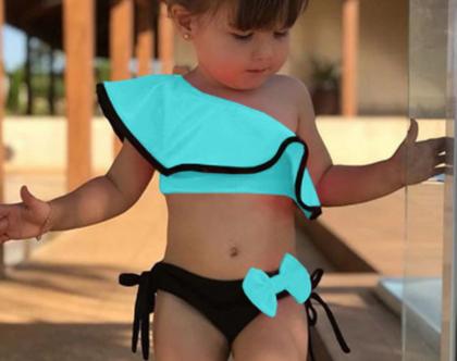 בגד ים שני חלקים לבנות ותינוקות, בגד ים כתף אחד