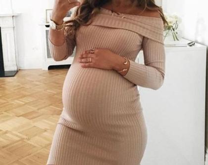 שמלת הריון לסתיו ולחורף, בגדי הריון ,שרוול ארוך