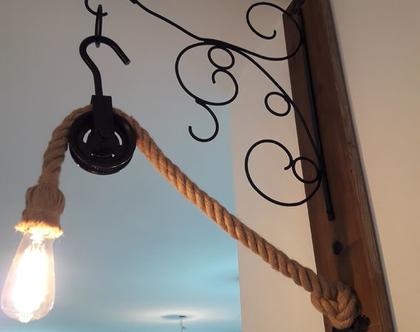 מנורת קיר עץ מלא וברזל