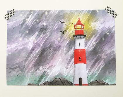 הדפס למסגור - מגדלור בסערה
