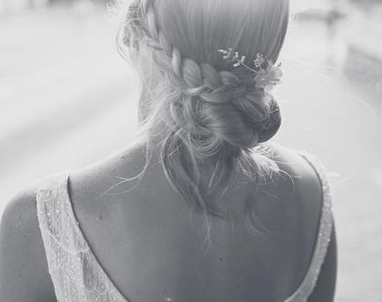 מסרקיה לכלה עם פרח משי עדין - איירין