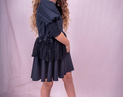 שמלה מסתובבת עם שרוולים נפוחים בצבע שחור