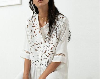שמלת מידי לבנה לחגים, סתיו 2019