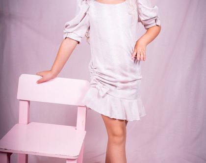 שמלה מנצנצת עם שרוולים נפוחים