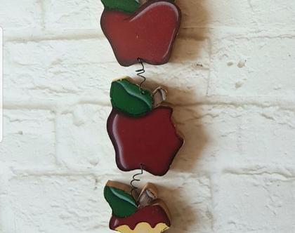 תפוחים מעץ קישוט קנטרי - תפוחים קישוט עץ לקיר - מתלה תפוחים קישוט בסגנון קאנטרי