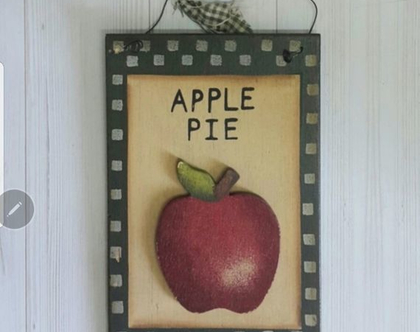 תפוח על שלט עץ קנטרי - שלט עץ עם תפוח - קישוט לקיר בסגנון קאנטרי