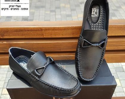 """נעלי מוקסין לגבר מעור בצבע שחור / מק""""ט 18563"""