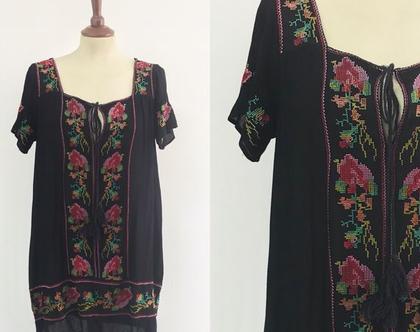 טוניקה רקומה | שמלה שחורה | טוניקה שחורה | טוניקה בוהו שייק | שמלה קצרה