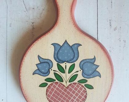 קרש חיתוך מצויר לקישוט - קישוט קיר מעץ - ציור על עץ עבודת יד