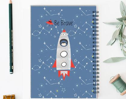 מחברת A5 מעוצבת | space boy | מחברת שורות | מחברת A5 | מחברת ספירלה