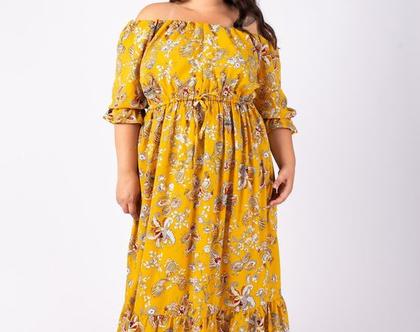 שמלת מקסי בצבע צהוב כתפיים חשופות שמלת ג'יזל