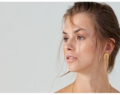 עגילי פרסה פרנזים- זהב