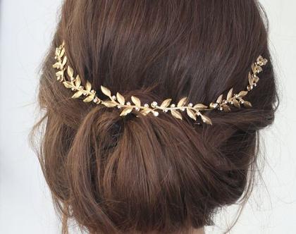 תכשיט עלים לשיער לכלה - נזר לשיער