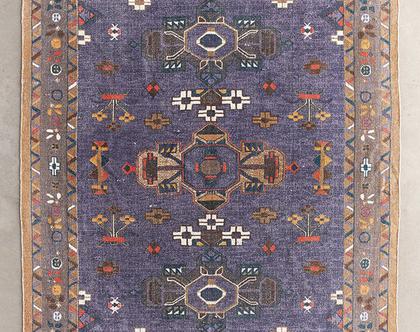 שטיח כותנה סגול בסגנון מרוקאי