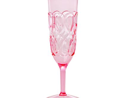כוס שמפנייה אקריליק עיטורים ורודה | RICE DK
