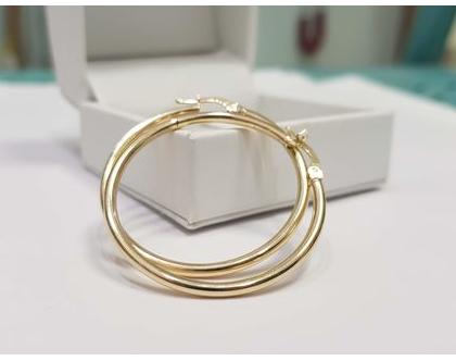 עגילי חישוק | עגילי זהב | עגילי חישוק זהב 14 קארט | עגילי ג'יפסי | 14K