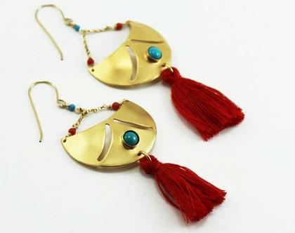 עגילי גדילים אדומים עגילי בוהו שיק עגילי פרנזים ואבני חן צבעוניים גדולים