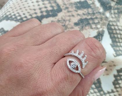 טבעת כסף עין מעוצבת משובצת בכסף 925 - משלוח חינם