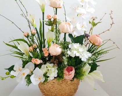 סידור פרחים מלאכותיים לאירוסין סחלב ואדמוניות
