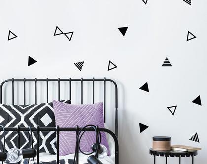 מדבקות קיר משולשים חלולים מפוספסים ומלאים 3 צבעים לבחירה, מדבקות קיר לחדר ילדים תינוקות ונוער, אקססוריז לחדר ילדים
