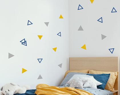 מדבקות קיר לחדר ילדים משולשים חלולים מפוספסים ומלאים 3 צבעים לבחירה, מדבקות קיר לתינוקות ונוער, אקססוריז לחדר ילדים