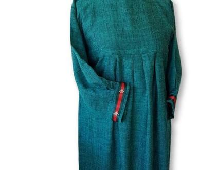 שמלת פשתן עם שרוול ארוך   שמלה ירוקה   שמלת מעצבים