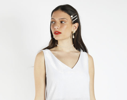 שמלת מיני לבנה מבריקה