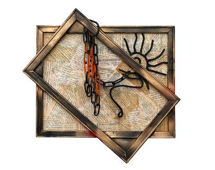 עבודת אומנות מקורית   אסמבלאז' עץ ומתכת   אומנות קיר  