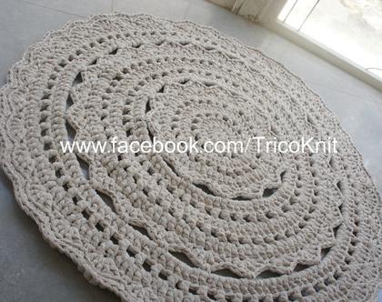 שטיח עגול סרוג בז' בקוטר 1.20 מטר