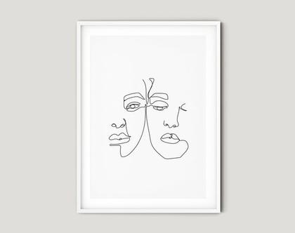 הדפס בעיצוב מקורי one line couple