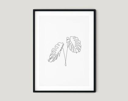 הדפס בעיצוב מקורי One line leaves