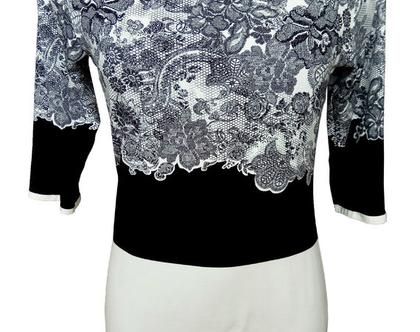 חולצת תחרה בשחור לבן