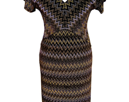 שמלת קטיפה גיאומטרית בשחור וזהב