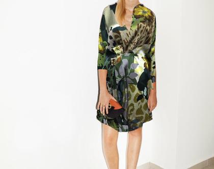 שמלת גלוריה פרחונית שרוול ארוך, שמלת אוברסייז, שמלת ערבמחמיאה, שמלה לאירוע