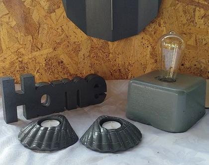 סט מוצרי בטון, שעון מנורת שולחן 2 מעמדים לנרות HOME