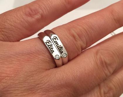 טבעת חריטה לאמא כסף - שמות ילדים - מתנה לאמא - טבעת עם חריטה שם - טבעות שם - טבעת חריטה שחורה