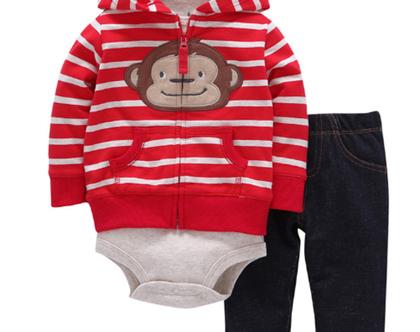 משלוח חינם 100% כותנה חליפת 3 חלקים לתינוקות לחורף