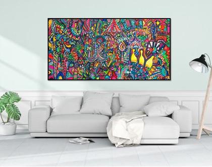 אמנות מקורית לבית, תמונה ענקית לעיצוב בית, ציור ענק לעיצוב לובי של האמנית ענבר רייך, אמנות ישראלית