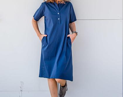 שמלה יפה ליום יום או לאירוע, שמלה מכופתרת, שמלה קצרה, שמלת ברך, שמלה כחולה, שמלה עם כיסים, שמלת כותנה